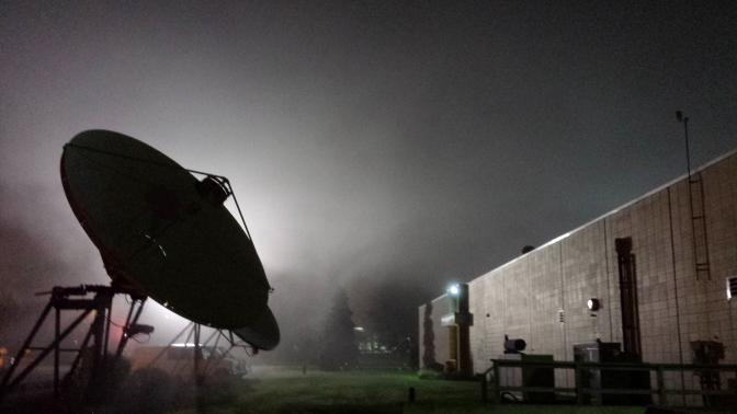 A foggy night leaving the station